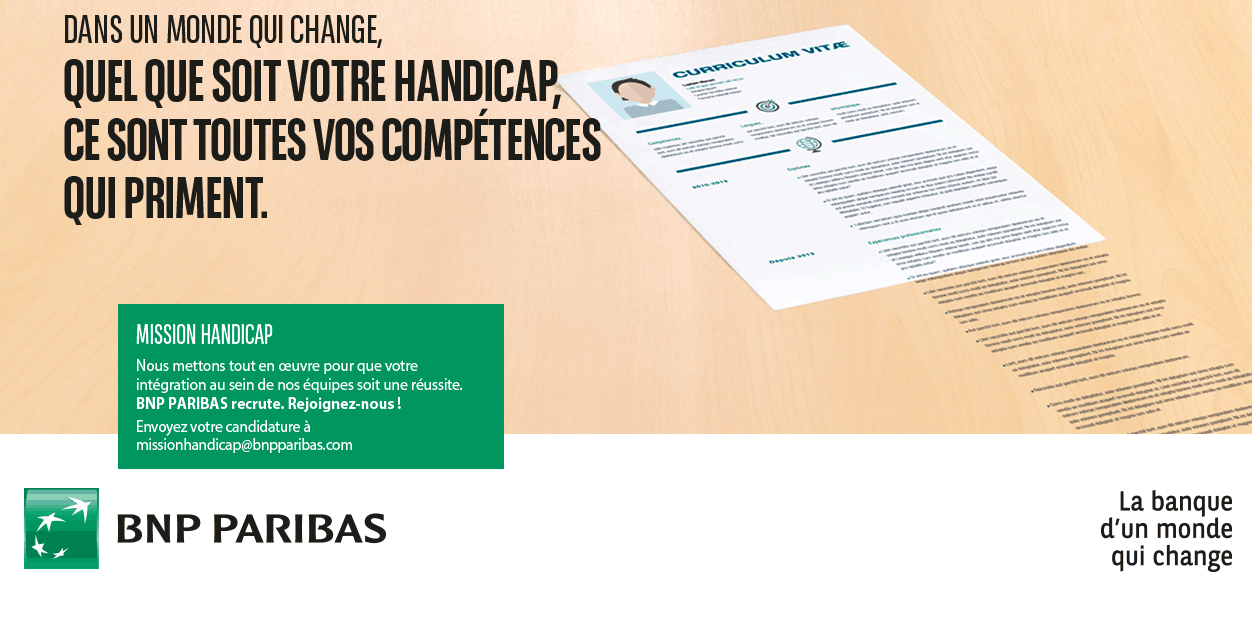 bnp paribas recrute sur handicap job focus sur cette entreprise. Black Bedroom Furniture Sets. Home Design Ideas